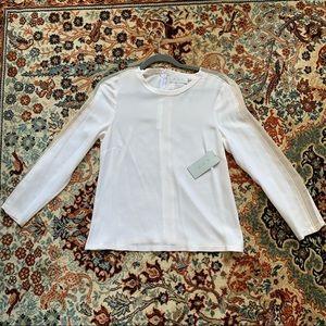 A.L.C. White Silk Long Sleeve Top